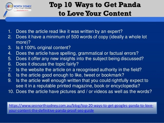 Top 10 Ways to Get Panda to Love Your Content
