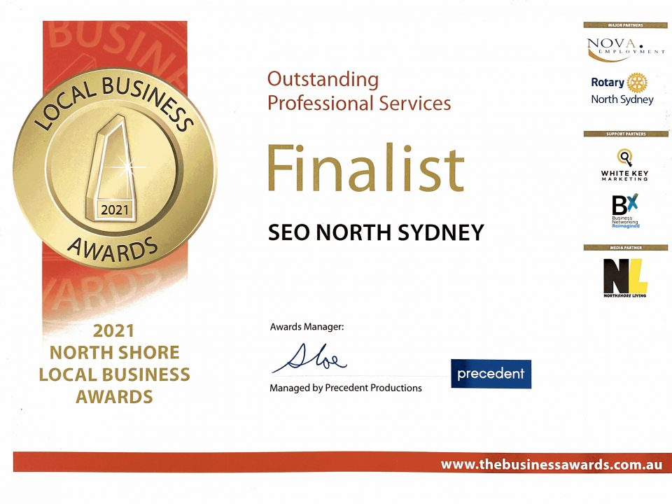 North Shore Local Business Awards Finalist 2021